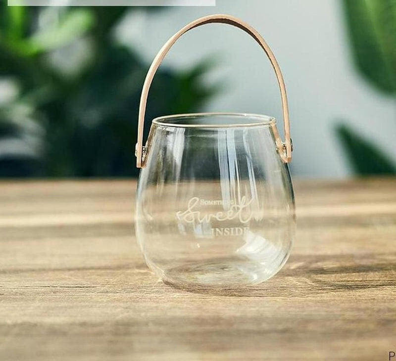 Ornamental Borosilicate Glass Vase With Leather Handle-Heart N' Soul Home-White letter small vase-Heart N' Soul Home