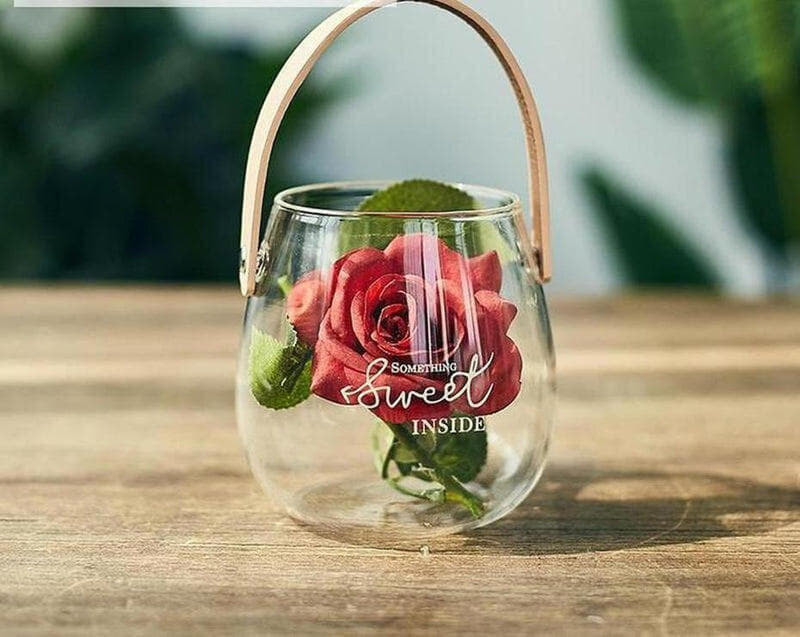 Ornamental Borosilicate Glass Vase With Leather Handle-Heart N' Soul Home-White letter small vase + red rose-Heart N' Soul Home