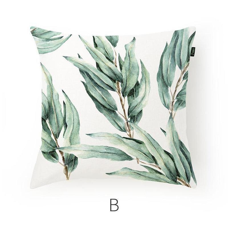 Paislee Fresh Leaves Cotton/Linen Cushion-Heart N' Soul Home-Cushion Cover Only-B 45x45cm-Heart N' Soul Home