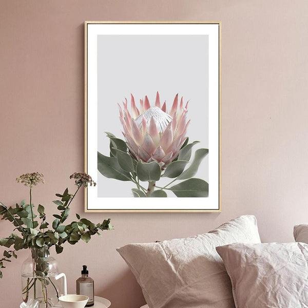 Pink King Protea Series Design B Canvas Prints-Heart N' Soul Home-Heart N' Soul Home