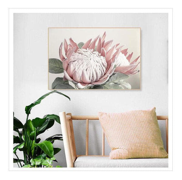 Pink King Protea Series Design C Canvas Prints-Heart N' Soul Home-Heart N' Soul Home