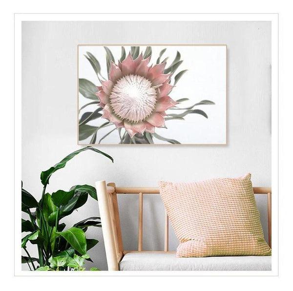 Pink King Protea Series Design D Canvas Prints-Heart N' Soul Home-Heart N' Soul Home