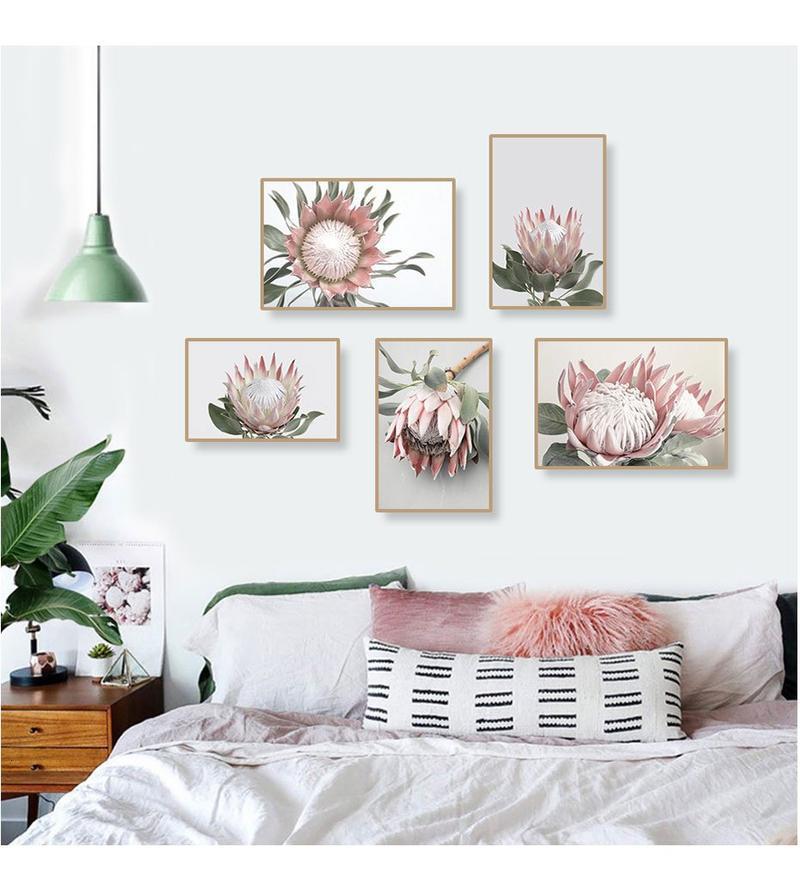 Pink King Protea Series Design E Canvas Prints-Heart N' Soul Home-Heart N' Soul Home