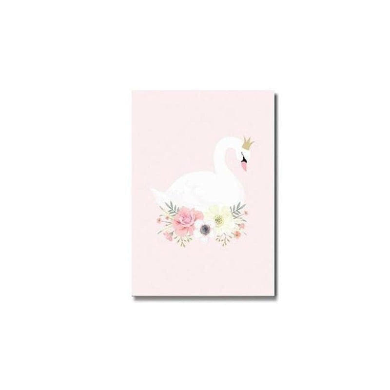 Pink Unicorn / Girl Canvas Painting Prints-Heart N' Soul Home-10x15cm no frame-crown flower swan-Heart N' Soul Home