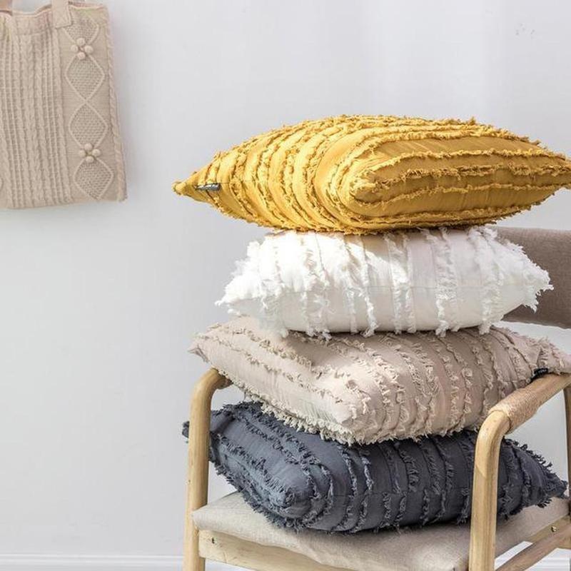 Poppy Cotton/Linen Jacquard Cushion Cover Vanilla-Heart N' Soul Home-45 x 45 cm No Insert-Heart N' Soul Home