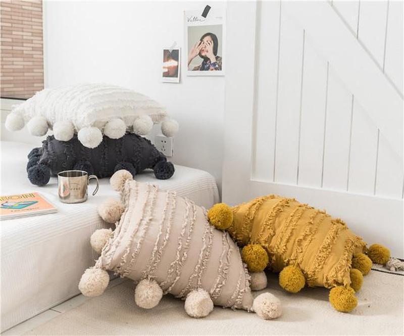 Poppy Pom Pom Trim Cotton / Linen Jacquard Cushion Cover Vanilla-Heart N' Soul Home-White-45 x 45 cm No Insert-Heart N' Soul Home