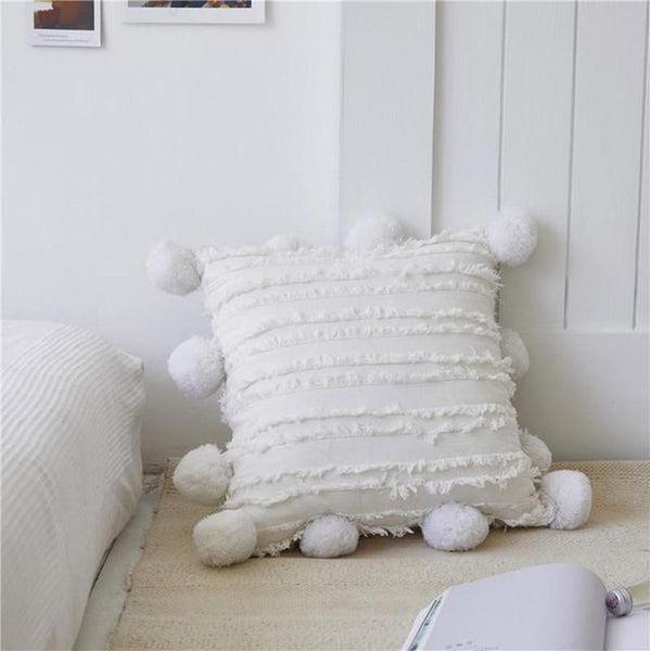 Poppy Pom Pom Trim Cotton / Linen Jacquard Cushion Cover White-Heart N' Soul Home-45 x 45 cm No Insert-Heart N' Soul Home
