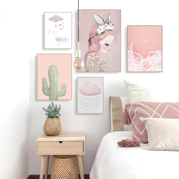 Cartoon Princess Pink Cactus And Clouds Nursery And Kids Room Canvas Prints-Heart N' Soul Home