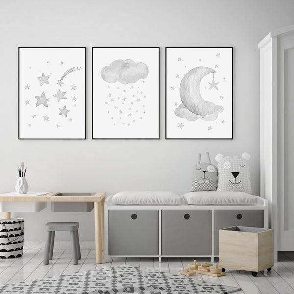 Grey Moon Stars Cloud Nursery And Kids Room Canvas Prints-Heart N' Soul Home