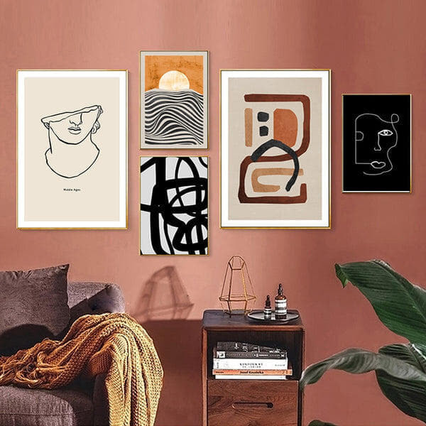 Brown Olivia Abstract Art Canvas Prints-Heart N' Soul Home