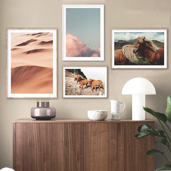 Desert And Horses Canvas Prints-Heart N' Soul Home