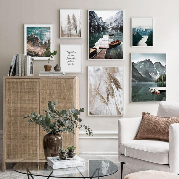 Mountain Lake And Reed Canvas Prints-Heart N' Soul Home