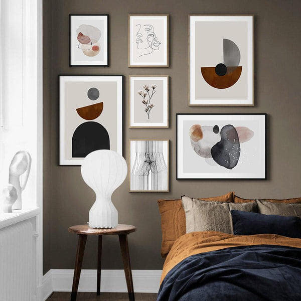 Abstract Circles And Sketch Line Art Canvas Prints-Heart N' Soul Home
