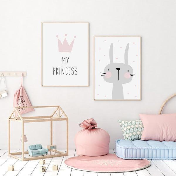 My Princess Bunny Nursery Kids Room Canvas Prints-Heart N' Soul Home
