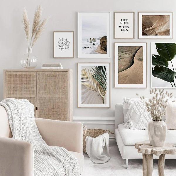 Desert and Palm Tree Leaves Art Prints-Heart N' Soul Home
