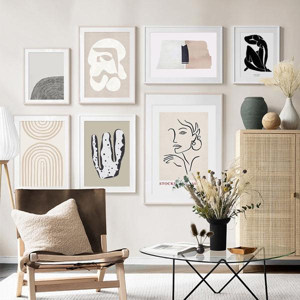 Celeste Abstract Scandinavia Beige Art Prints-Heart N' Soul Home