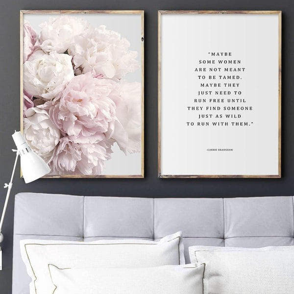 Scandinavian Pink Peony Flower Typographic Quotes Canvas Painting Prints-Heart N' Soul Home-Heart N' Soul Home