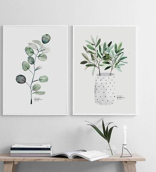 Scandinavian Watercolor Leaf Canvas Print-Heart N' Soul Home-Heart N' Soul Home