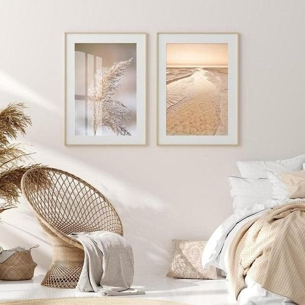 Sunset Beach And Wheat Brush Canvas Prints-Heart N' Soul Home-Heart N' Soul Home