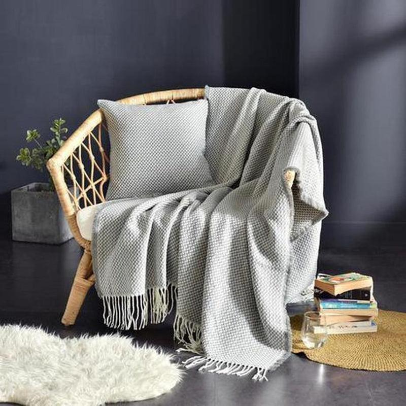 Tessa Knitted Throw Grey Large ( 130 x 220cm )-Heart N' Soul Home-Grey-130*(200+10*2 tassels)cm-Heart N' Soul Home