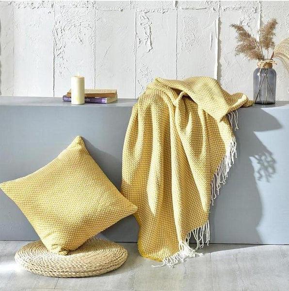 Tessa Knitted Throw Mustard Large ( 130 x 220cm )-Heart N' Soul Home-Eric-Golden-130*(200+10*2 tassels)cm-Heart N' Soul Home