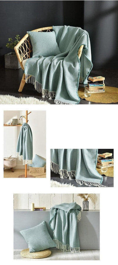 Tessa Knitted Throw Teal Large ( 130 x 220cm )-Heart N' Soul Home-Eric Blue Green-130*(200+10*2 tassels)cm-Heart N' Soul Home