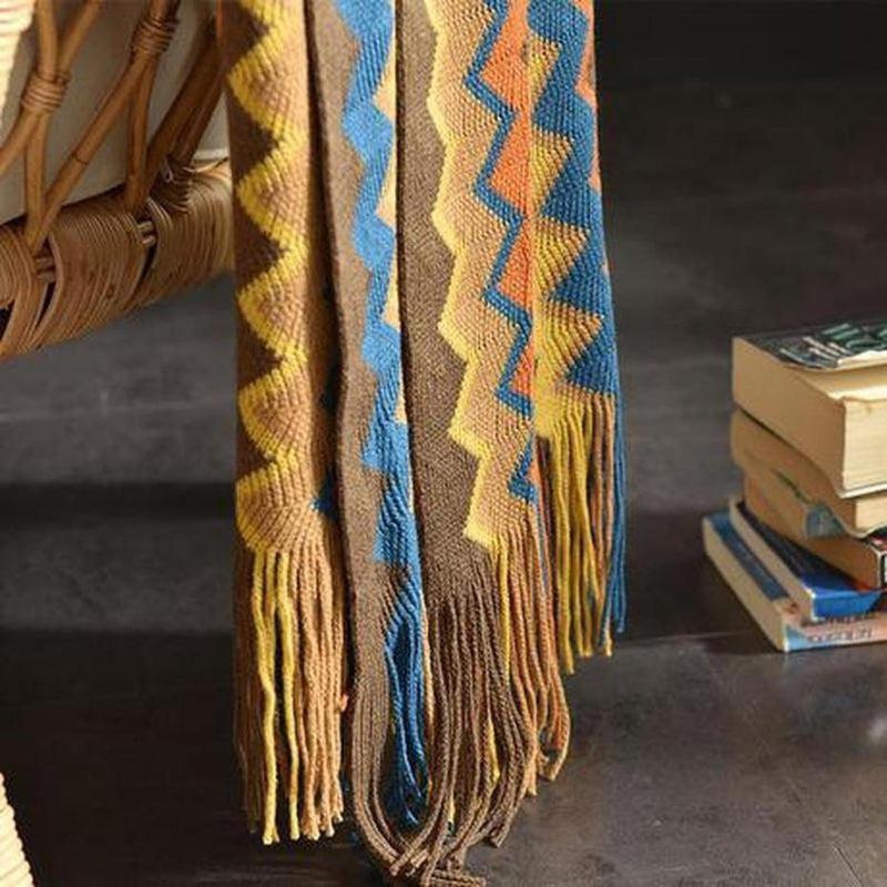 Tribal Colour Knitted Throw-Heart N' Soul Home-Heart N' Soul Home