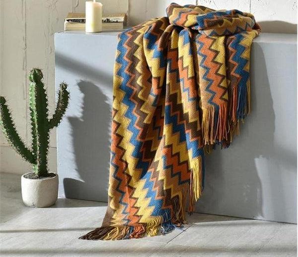 Tribal Colour Knitted Throw-Heart N' Soul Home-Multi-130*(200+10*2 tassels)cm-Heart N' Soul Home