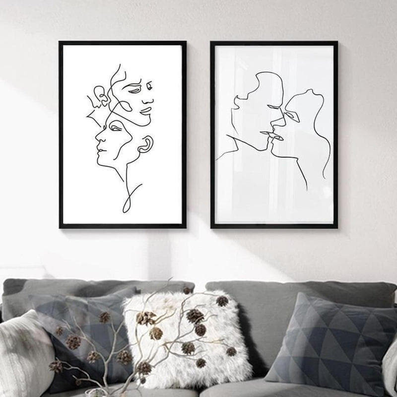 You And Me Abstract Art Black And White Canvas Painting Prints-Heart N' Soul Home-Heart N' Soul Home