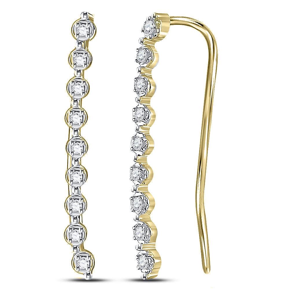 Diamond Climber Earrings 1/20 Cttw 10kt Yellow Gold