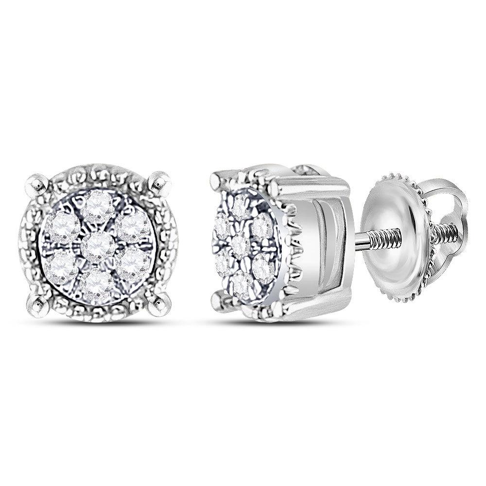 Diamond Flower Cluster Milgrain Stud Earrings 1/10 Cttw 10kt White Gold