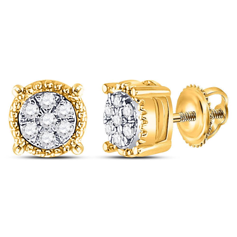 Diamond Flower Cluster Milgrain Stud Earrings 1/10 Cttw 10kt Yellow Gold