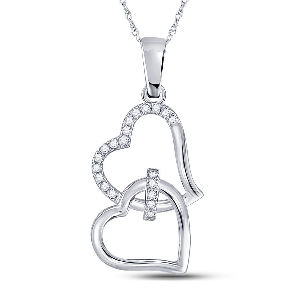 Diamond Double Heart Pendant 1/10 Cttw 10kt White Gold