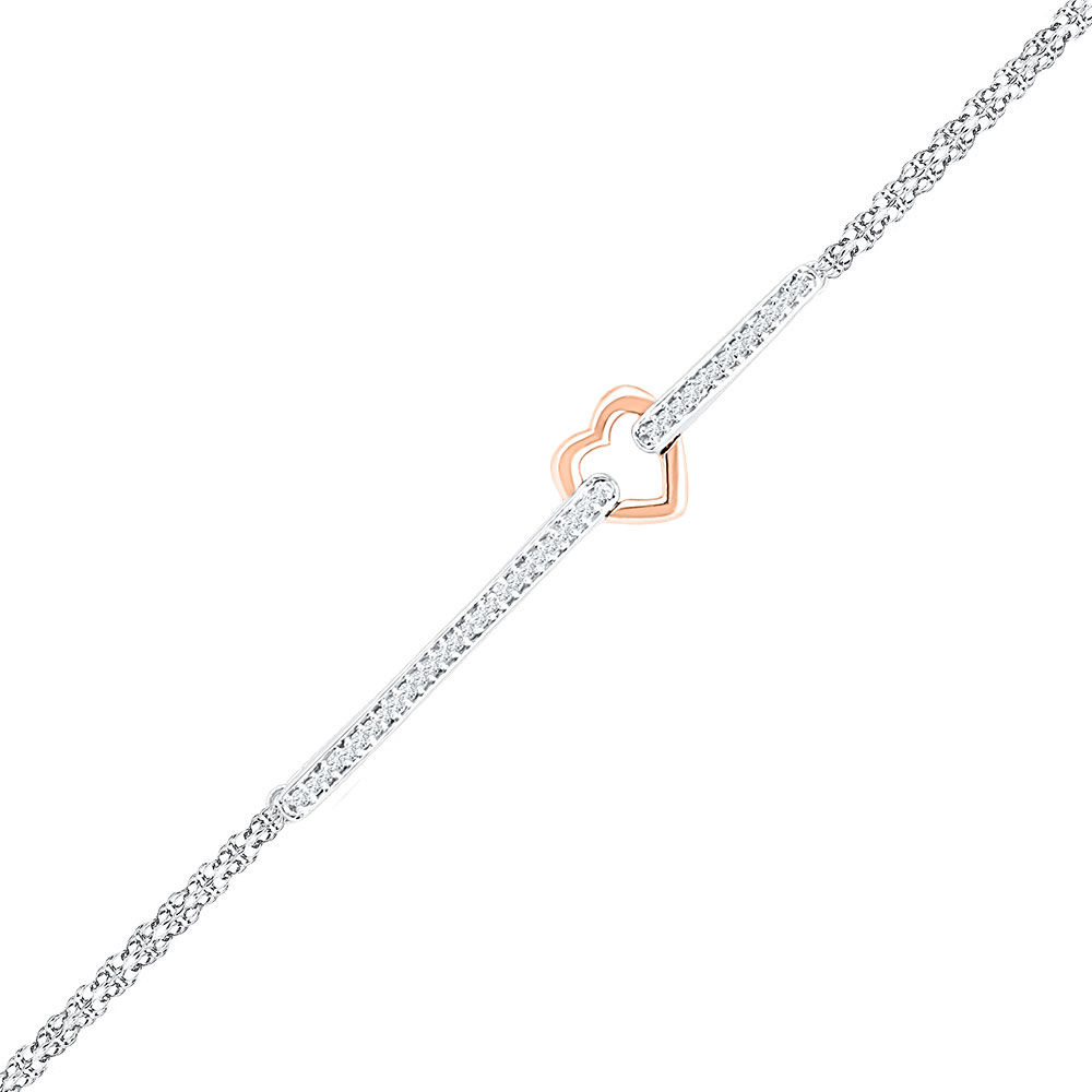 Diamond Heart Fashion Bracelet 1/8 Cttw 14kt Two-tone Gold