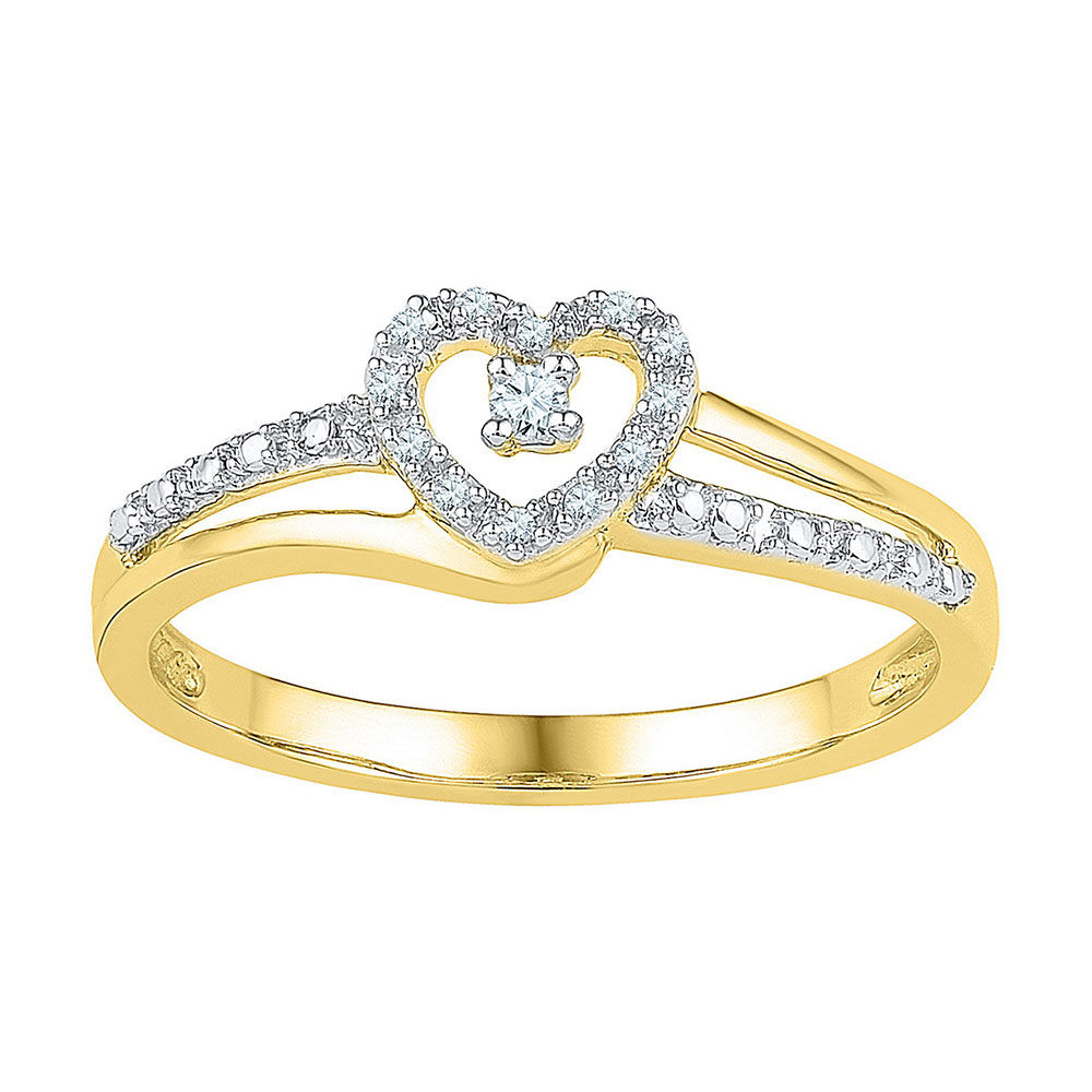 Diamond Heart Promise Bridal Ring 1/20 Cttw 10kt Yellow Gold