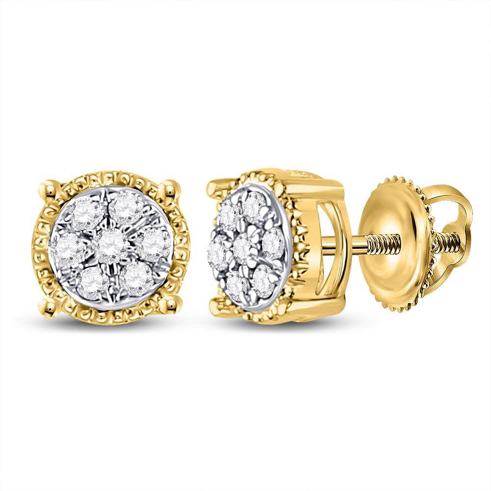 Diamond Flower Cluster Stud Earrings 1/6 Cttw 10kt Yellow Gold