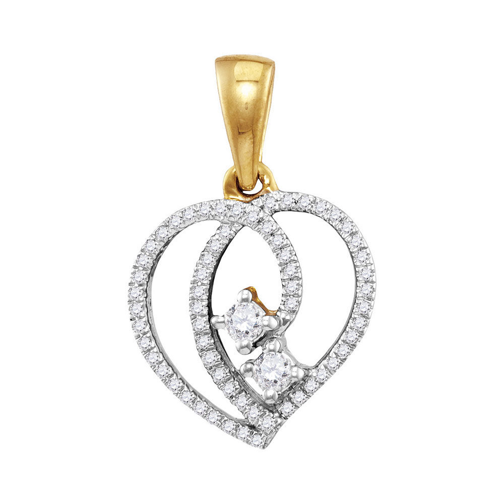 Diamond 2-Stone Hearts Together Heart Pendant 1/6 Cttw 10kt Yellow Gold