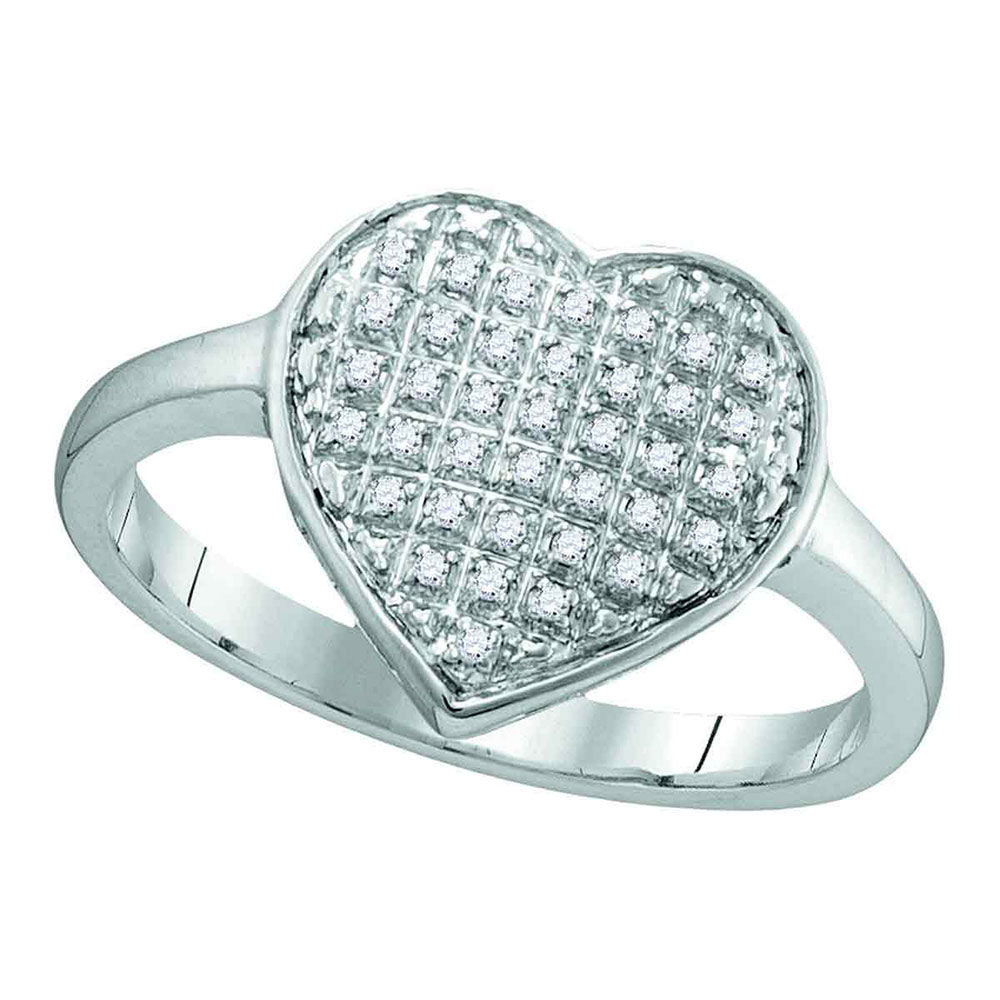 Diamond Heart Cluster Ring 1/10 Cttw 10kt White Gold