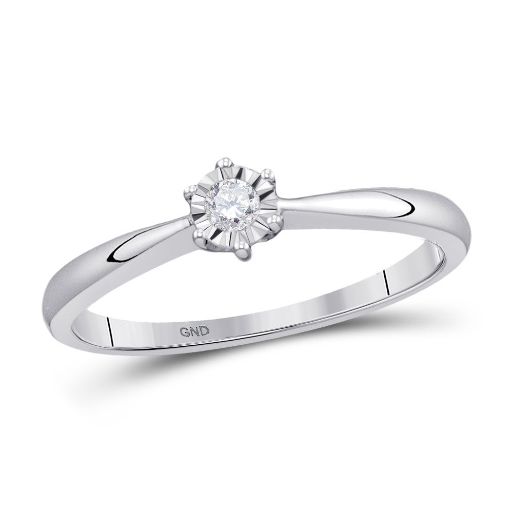 Diamond Solitaire Bridal Wedding Engagement Ring 1/12 Cttw 10kt White Gold