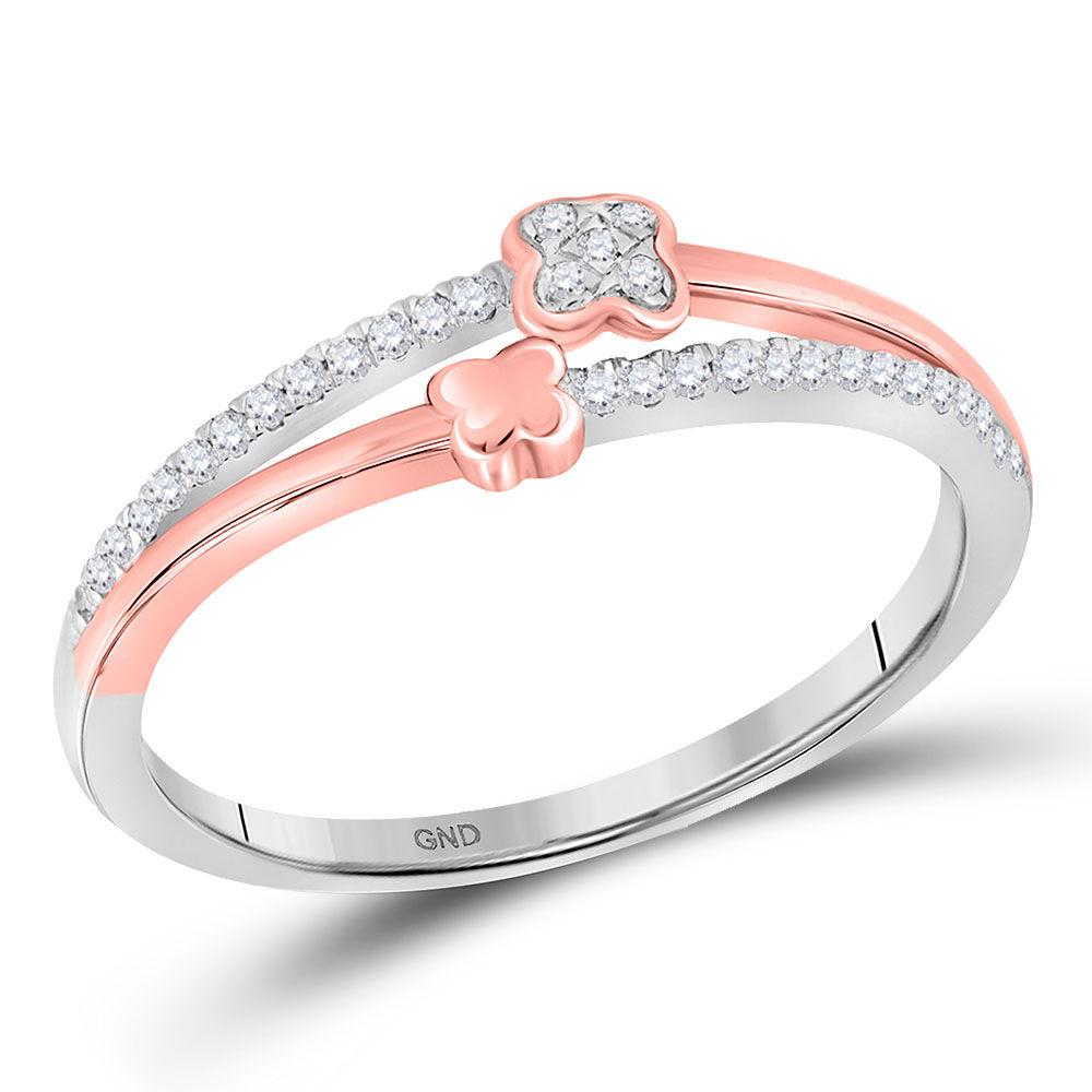 Diamond Two Row Quatrefoil Band Ring 1/10 Cttw 10kt White Gold
