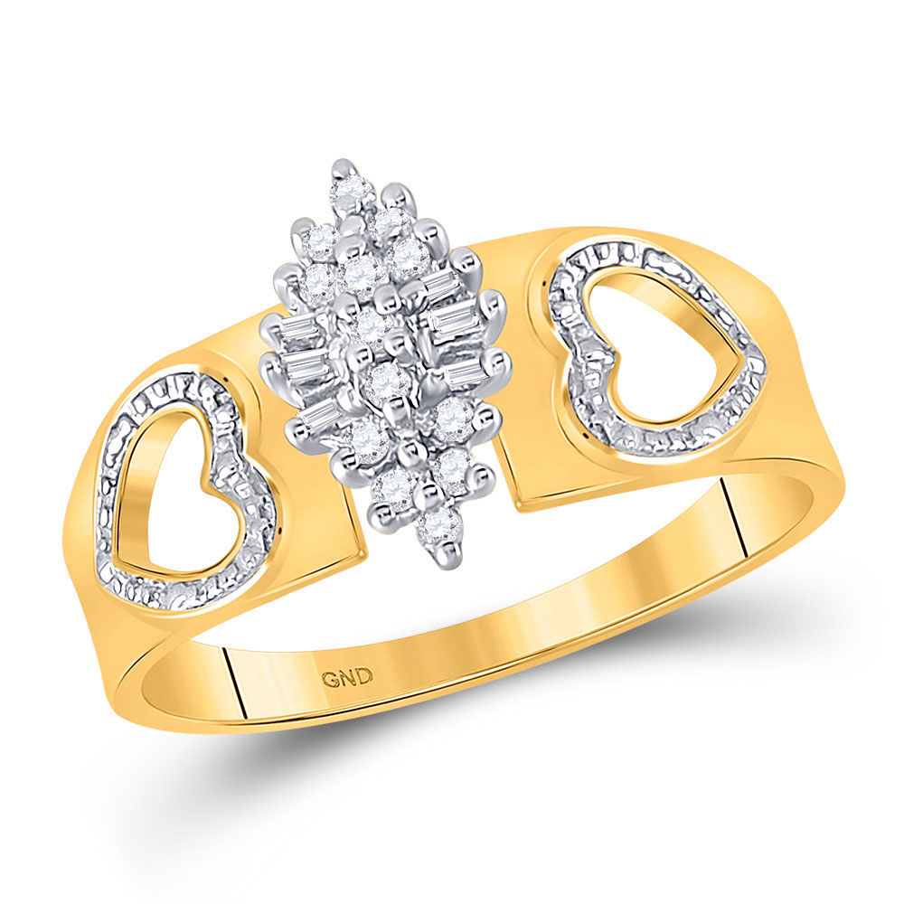 Diamond Double Heart Cluster Ring 1/8 Cttw 10kt Yellow Gold
