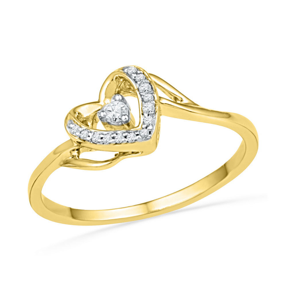 Diamond Heart Promise Bridal Ring 1/12 Cttw 10kt Yellow Gold