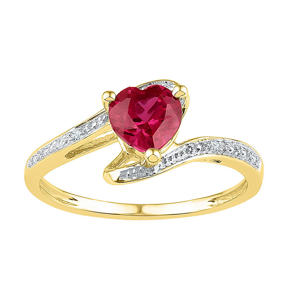 Heart Lab-Created Ruby Solitaire Diamond-accent Ring 1.00 Cttw  10kt Yellow Gold