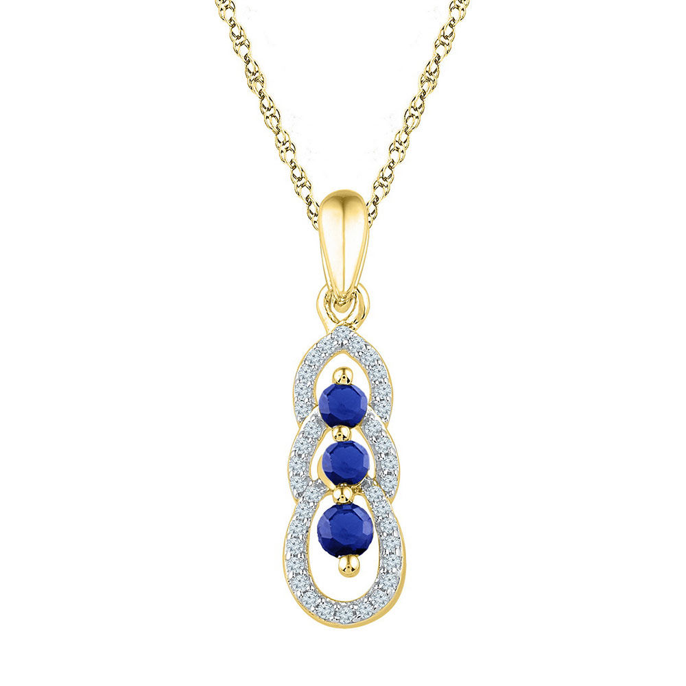 Round Lab-Created Blue Sapphire 3-stone Pendant 1/2 Cttw 10kt Yellow Gold