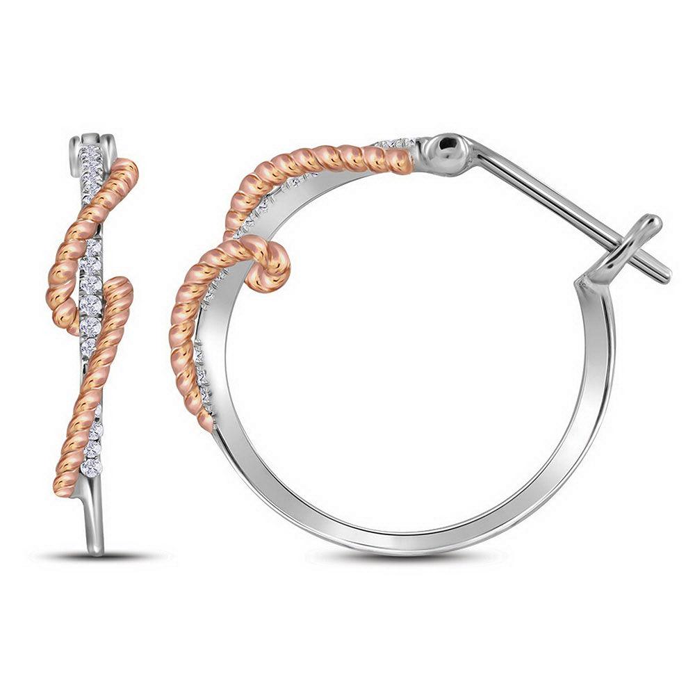 Diamond Rope Hoop Earrings 1/10 Cttw 10kt Two-tone Gold
