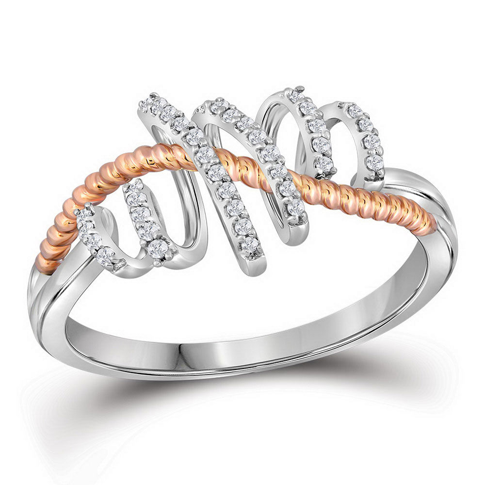 Diamond Pink-tone Rope Spiral Band Ring 1/10 Cttw 10kt White Gold