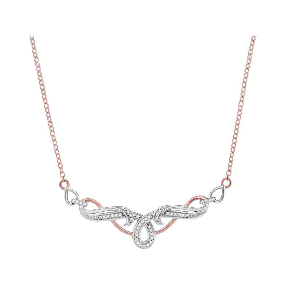 Diamond Flourished Curl Fashion Necklace 1/8 Cttw 10kt Two-tone Gold