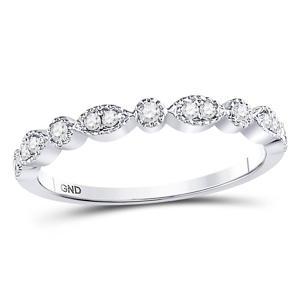 Diamond Milgrain Stackable Band Ring 1/6 Cttw 10kt White Gold