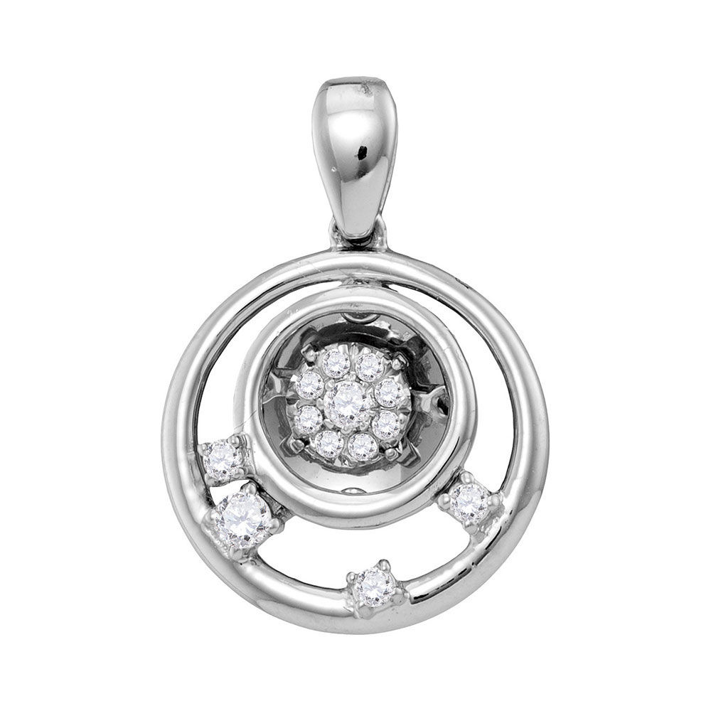 Diamond Circle Cluster Pendant 1/8 Cttw 10kt White Gold