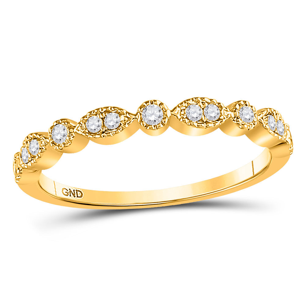 Diamond Milgrain Stackable Band Ring 1/6 Cttw 10kt Yellow Gold